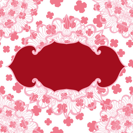 Pink blank frame for text on seamless stylized pattern