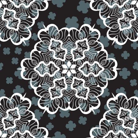 Seamless Print for Textile or Warping Paper with mandalas Illusztráció