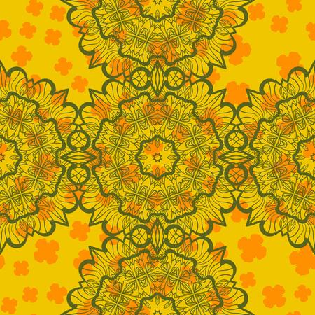 Green on Yellow Abstract Mandala Seamless Print Illustration