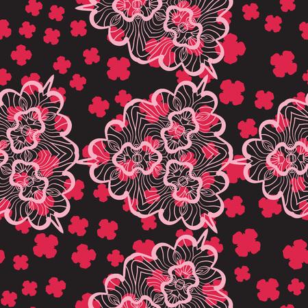 Abstract mandala stylized shape warping paper Print With Pink Shapes Background Illusztráció