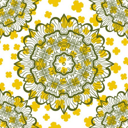Abstract Seamless Mandala Stylized Warping Paper Pattern Print. Indian mandala as base of endless design.
