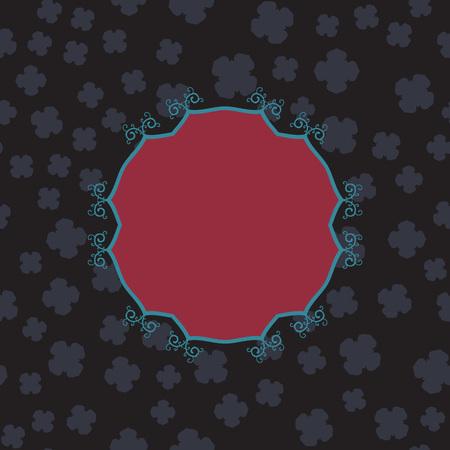 Red Blank Frame on Seamless Print in dark grey