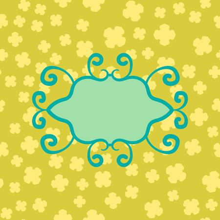 Ornate Blank Frame Print on Yellow Semless Clover Pattern