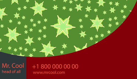 Red and Green Stars Vector abstract creative business card with bended lines. Illustration