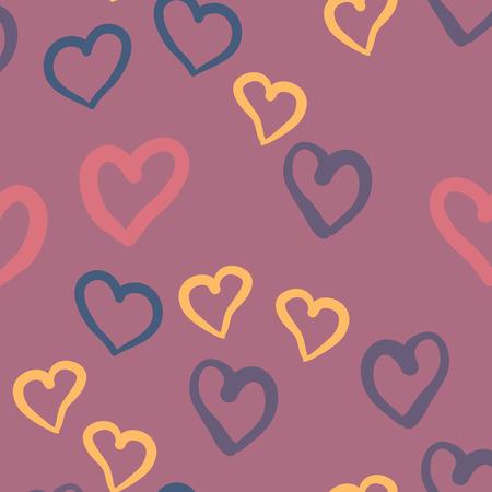 Flaches Design endlose chaotische Textur aus winzigen Herzen Silhouetten zum Valentinstag