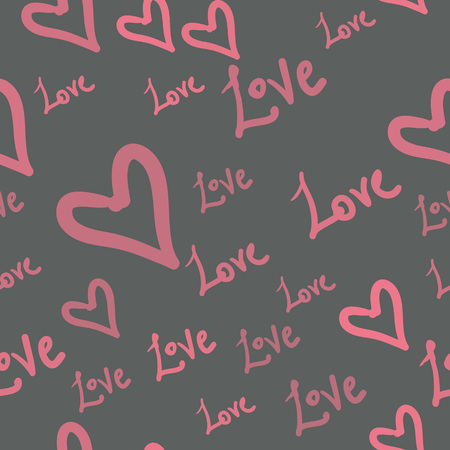 Seamless pattern with pink heart shapes and words Love on Gray. Valentines Day Background in childysh style.