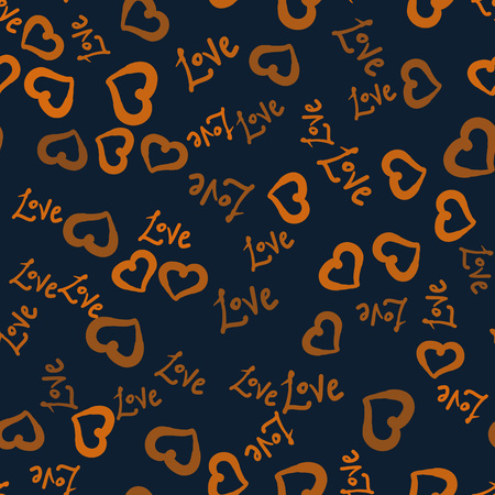 Hearts shape and love world hand drawn seamless background.Valentines Day Postcard wallpaper or warping paper.