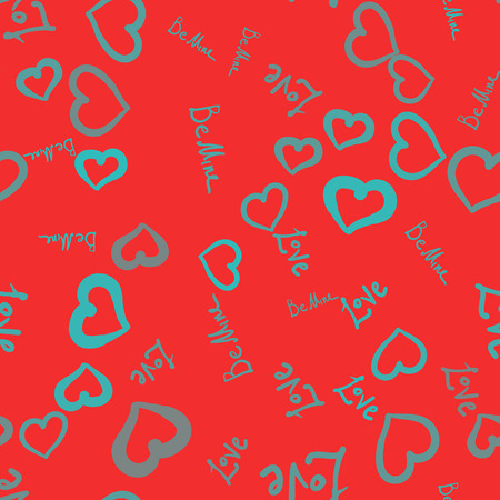 Vector Pattern On red Background Cute tile with small hearts in bright shades of azure blue color seamless vector background.