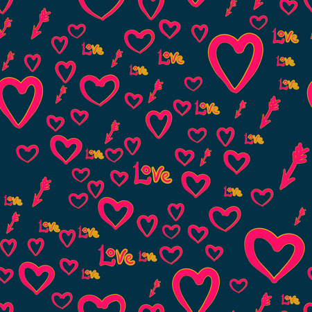 Abstract seamless chaotic pattern with Cupid arrows, love word and heart elements. Valentine Day texture background. Wallpaper for lovers.