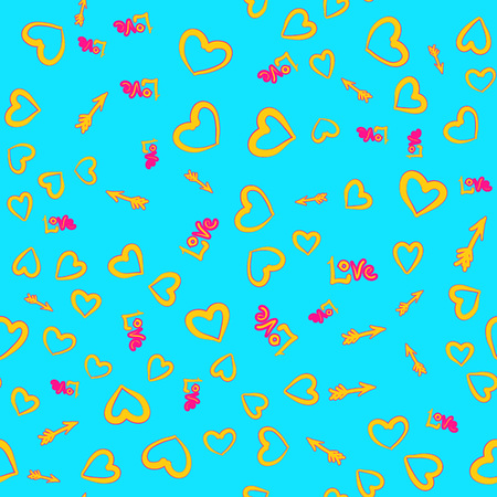 Happy Valentines Day. Yellow hearts, arrows, love word seamless pattern on azure background.
