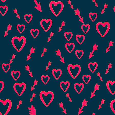 Hand drawn heart with cupid arrows seamless pattern. Creative pattern for wallpaper, warping paper, background, web-design and textile. Can be used for Valentine s Day cards.