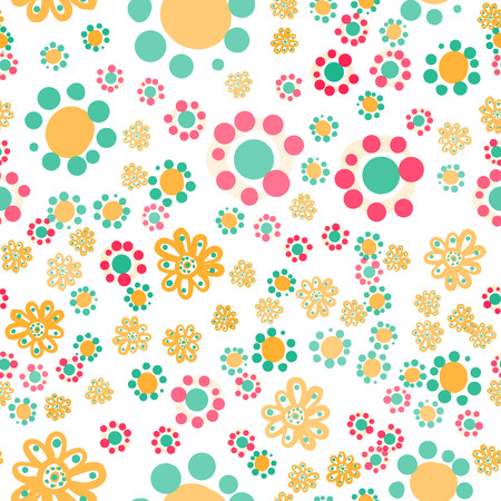 Hippie wallpaper with funny stylized colorful flowers on white background, childish naive style. Illustration