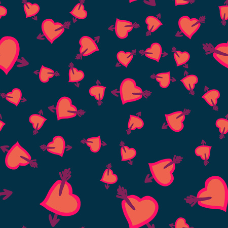 Many Hearts wounded by cupid arrow all-over Print