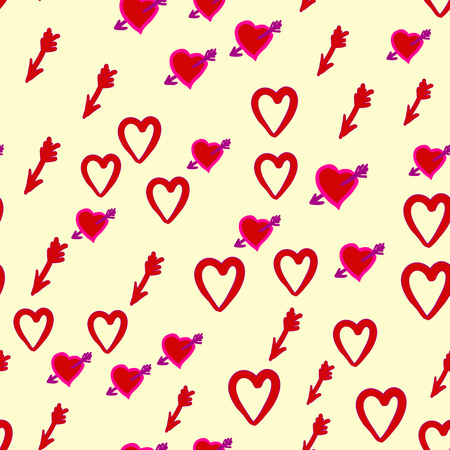 love Hunt of Cupid. Seamless pattern with arrows of Cupid chasing peoples hearts