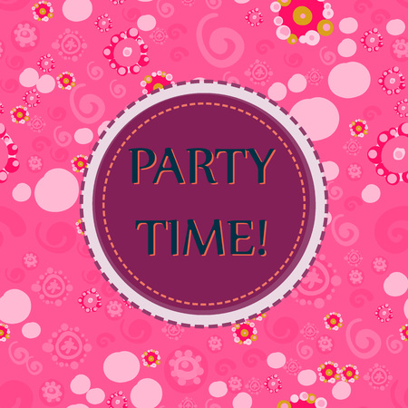 Pink Color Party time Vector seamless pattern with hand drawn Doodle elements - spots, dots, spirals, flowers. Festive background for birthday party.