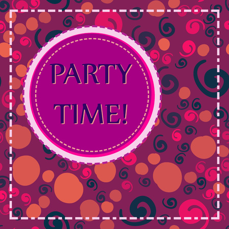 Round Lable with Party Time words on violet-red background with childish primitive elements. Party time lettering typography. Square format flyer cover. Illustration