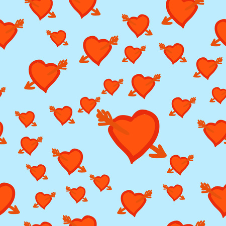 Wounded Hearts. Wedding or Valentines Day romantic seamless pattern with hearts wounded by Cupid Arrow in square format for wallpaper and textile print