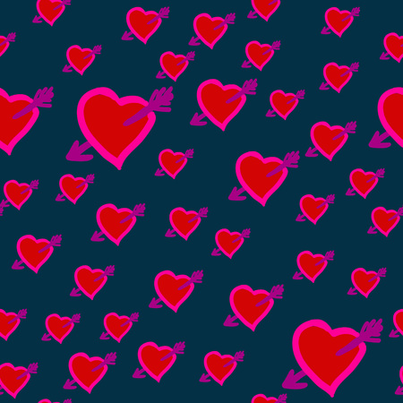 Valentine Day Wounded Heart. Arrows in Hearts seamless background.