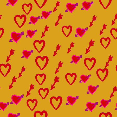 allover: Valentine Day seamless pattern of the heart symbol, arrow, and wounded heart. Cupid Hunt.