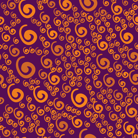 Wrapping Paper Tile with Curly Elements. Seamless pattern with orange swirls on a violet background