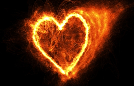 Fire Heart Flying In Dark Space, Frame For Tet Stock Photo