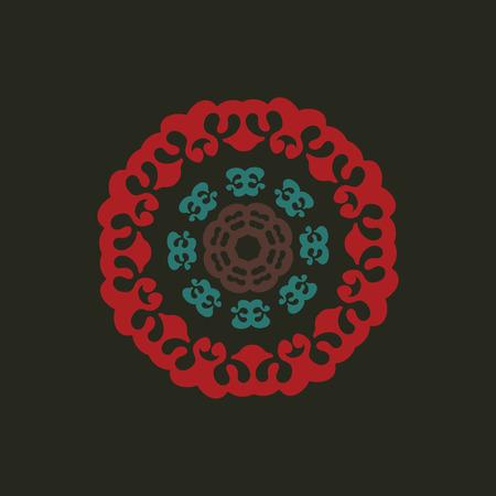 Tibetan Style Mandala On Dark Background. Vector illustration.