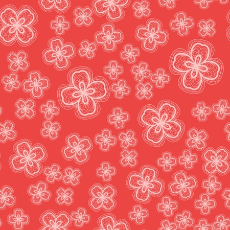 Stylized Ornamental Flowers Seamless Background Ilustracja