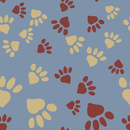 Animal foot prints endless pattern.