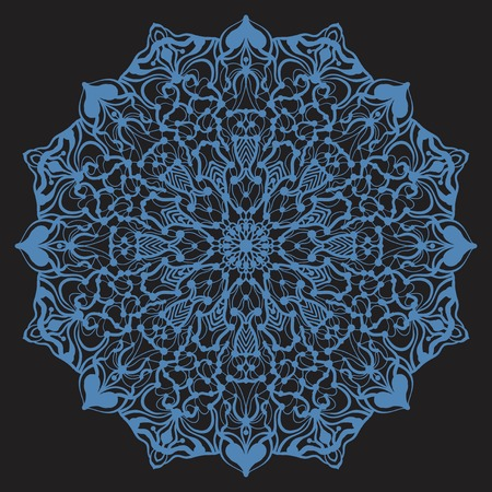 Ornate stylized snowflake or zentangle mandala on dark background
