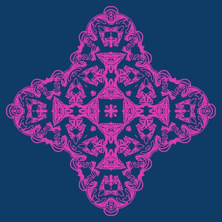 Neon color ornate snowflake-like element for party invitation cover design 일러스트