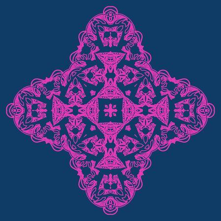 Neon color ornate snowflake-like element for party invitation cover design