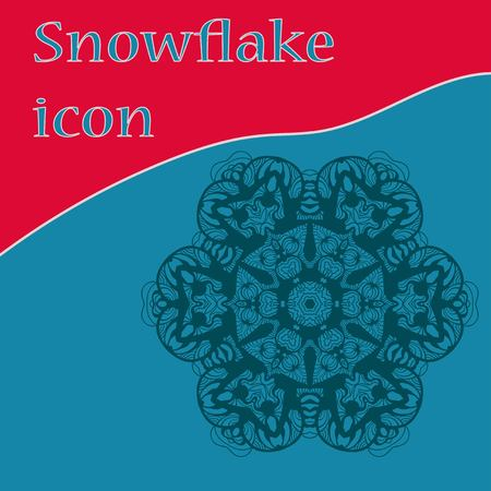 Flat icon snowflake-like vector design. Hand-made christmas element for Christmas party invitation.