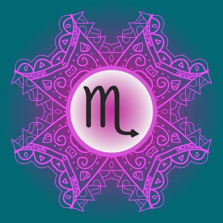 zodiac sign Scorpio - What is karma Vector circle with zodiac signs on ornate wallpaper. Oriental mandala motif square lase pattern, like snowflake or mehndi paint.