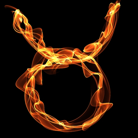 Taurus (Bull) Zodiak Sign made of fire