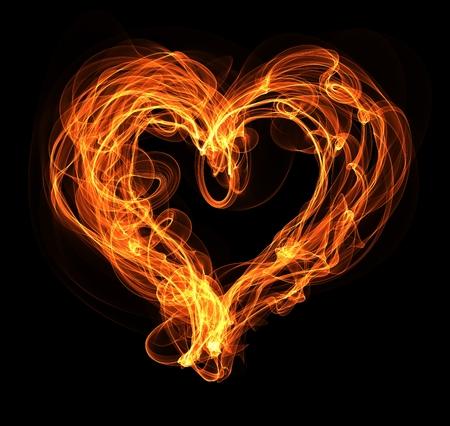 Burning  heart illustration on the black background