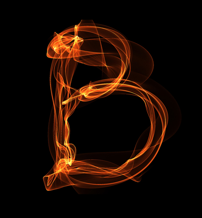 B letter in fire illustration