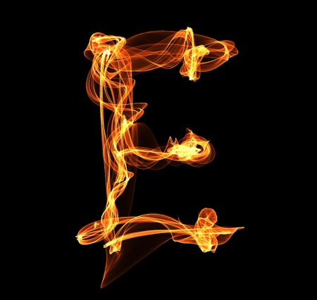 E letter in fire illustration