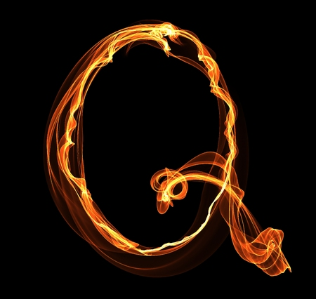 Q letter in fire illustration Ilustrace