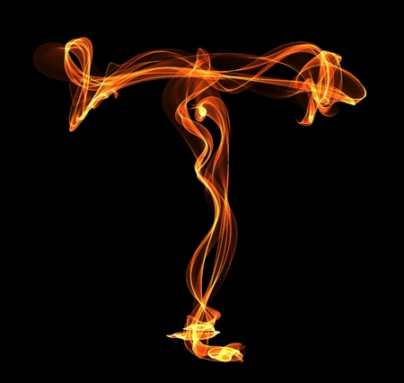 T letter in fire illustration