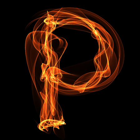 P letter in fire illustration