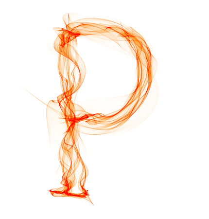 p letter made of fire