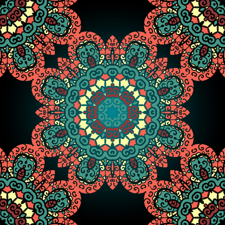 Red and green seamless ornamental pattern. Vintage art element.  イラスト・ベクター素材
