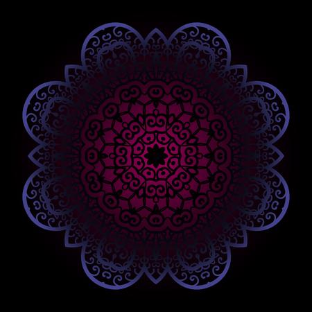 Violet mandala on dark background. Vintage design element in ottoman indian arabic motif Illustration