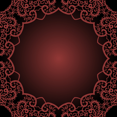 Outlined mandala circle. Brown border frame for text in the Indian style.