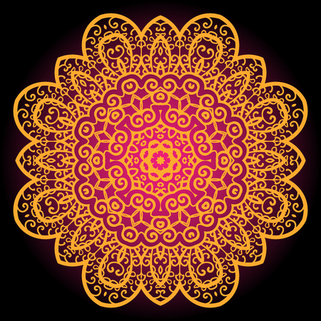 Orange vintage art of india. Mandala chakra karma design.