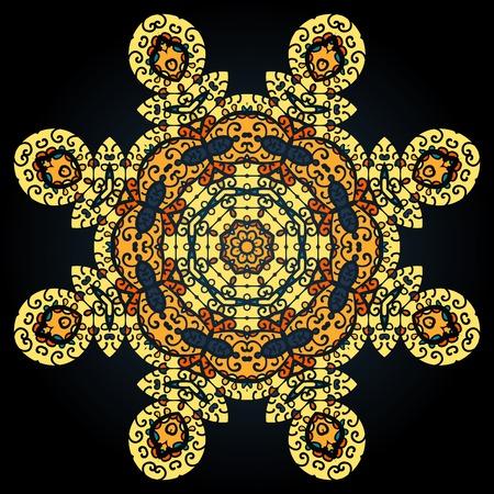 Golden oriental mandala.