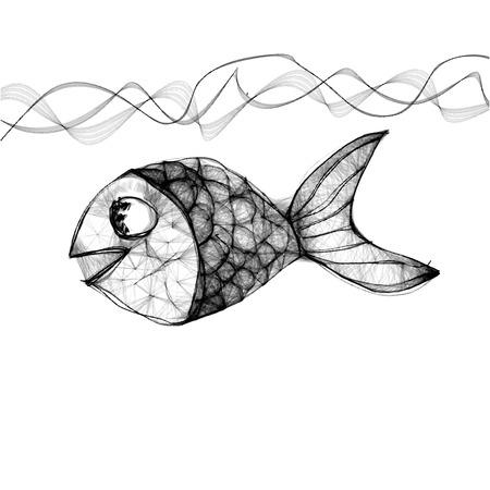 poisson dessiné à la main dans la mer Vecteurs