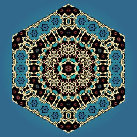 Abstract ornamental shape, vector mandala on blue background. Decorative vintage element
