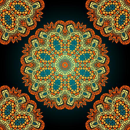 Seamless mandala over black background. Vitage vector wllpaper. Ilustração