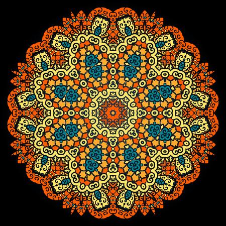 Mandala ornate pattern. Vintage indian ornament on black.